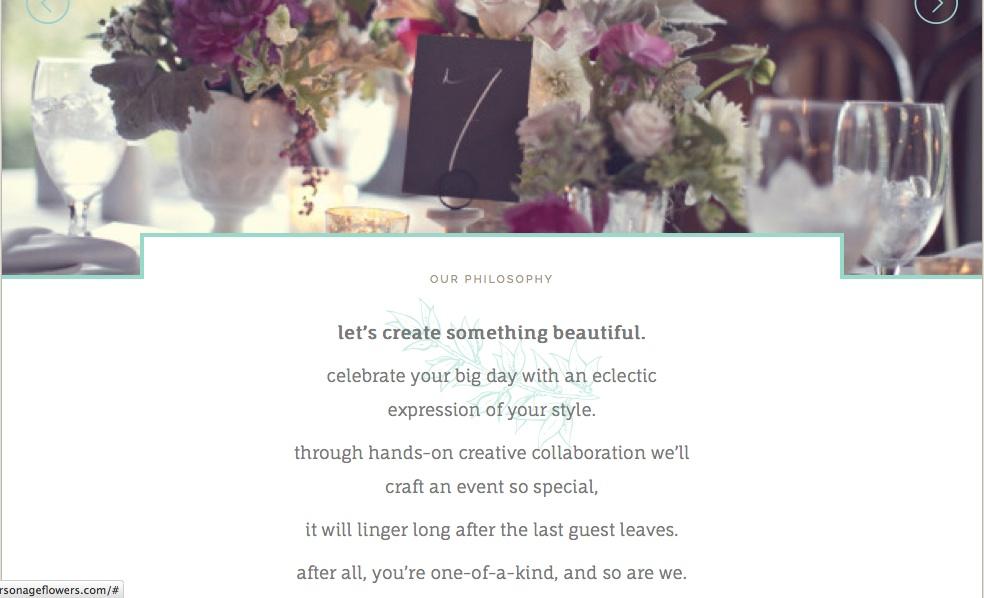 Parsonage Events Design Studio website copy